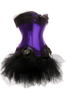 Purple Sateen Strapless Corset Dress With Bow Gathers and Tutu Net Mini Skirt