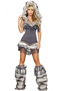 Native American Costume With Gray Tassel Mini Dress, Fur Trim and Hood, and Fur Boot Covers