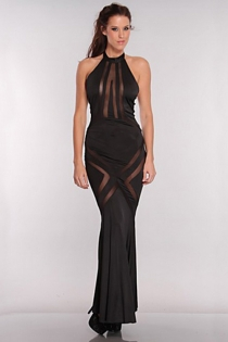 Long Black Halter-style Gown With Flared Skirt and Black Sheer Accents Across the Thighs and Bust