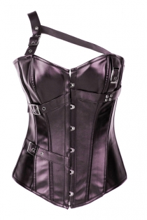Coppery Leather Overbust Corset With One Shoulder Halter Style and Belt Detailing