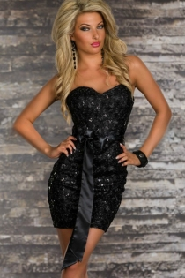 Black Strapless Club Dress With Heart-cut Bust, Black Bow Belt, and Black Sequin Accents