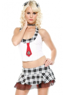 Rebel Sexy School Girl Inspired White Top Red Tie and Super Mini Skirt White and Black Checked