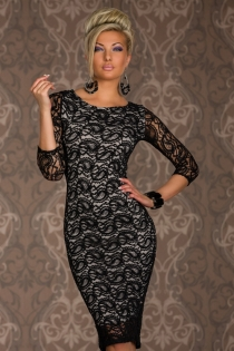 White Sleeveless Club Dress With Long Sleeve Black Lace Overlay Featuring Paisley Print