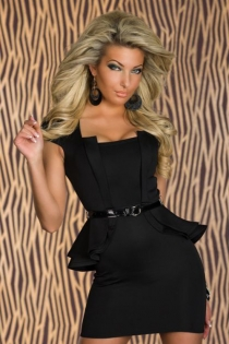 Black Mini Club Dress With Attached Black Cap Sleeve Ruffled Jacket and Thin Black Vinyl Belt