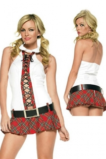 Corsage Detail White Top With Collar and Checked Red School Girl Style Sexy Skirt With Removable Belt