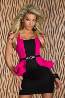 Black Mini Club Dress With Attached Hot Pink Cap Sleeve Ruffled Jacket and Black Vinyl Belt