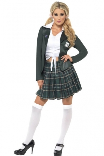 Simple White Tied Deep Plunge Top With Blazer and High Waist Green Short Pleated School Girl Skirt