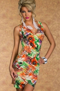 Multicolor Sleeveless Wrap-style Dress With Orange, Green, and Purple Floral Print