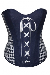 Black and White Boned Overbust Corset With White Lace-up Front and White Geometric Print Side Panels