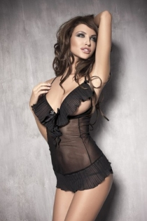 Black Sheer Open Bust Racerback Babydoll With Pleated Skirt and Trim on the Bust