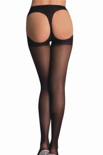 Black Sheer Open Bottom Full-length Stockings With Solid Black Thong Design and Waistline