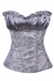 Grey Boned Corset With Ruffled Satin Bust, Paisley Print Bodice, and Grey Satin Ribbon Lace-up Back