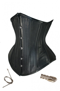 Severe Leather-look Underbust Slimming Corset With Steel Bones and Front Busk
