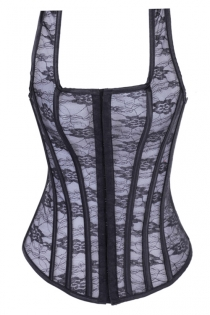 White and Black Lace Overlay Corset With Racer-back Straps, Hook and Eye Front Closure, and Lace-up Back