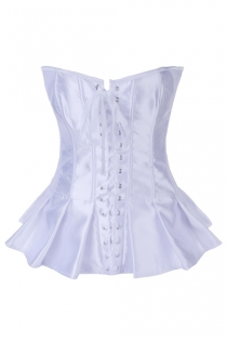 White Satin Boned Corset With Ruffled Skirt, Hook and Eye Closures in Back, and Satin Ribbon Lace-up Front