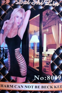 Solid Black Sleeveless Thigh-Length Bodystocking With Large Cut-out Detailing on Both Sides