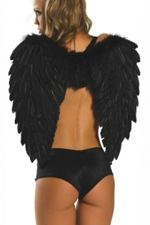 Smooth Black Attractive Feather-Like Gorgeous Angel Wings Intimate Apparel Accessory Without Matching Black Panty