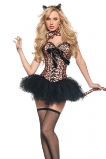 Wild Leopard Corset Dress With Animal Print Bustiere, Lace-up Front and Lace Bust Trim, With Tutu Skirt
