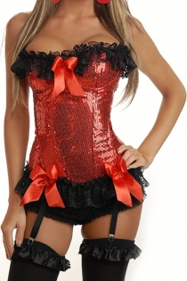 Disco Sequined Red Corset With Generous Black Lace Ruffle and Red Satin Bows, Underwired Cups, Garter Hooks