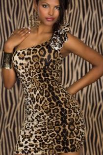 Cheetah Print One-shouldered Mini Club Dress With Ruffle Trim on the Shoulder