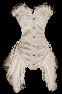 White Bridal Overbust Structured Corset With Filligree Embroidered Lace Bodice and Tulle and Lace Side Trails.