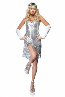 Alluring Broadway Diva GlisteningSilver Sleeveless With Finely Accentuated Threadlike Strings Lower Style