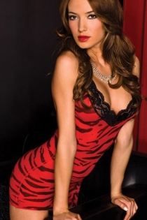 Red Animal Print Racerback Babydoll With Plunging Neckline and Black Lace Trim