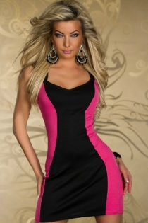 Fascinating Smooth Black Center Pattern Fuchsia Sides Strips Sheer Ziipped Top Back
