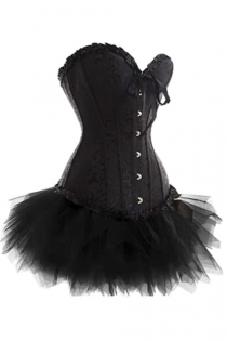 Black Strapless Corset Dress With Inlay Pattern and Tutu Net Mini Skirt
