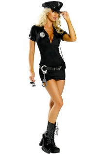 Tempting Lady Police Officer Stylish Skimpy Deep Plunge Top Gorgeous Belt Exciting Accents