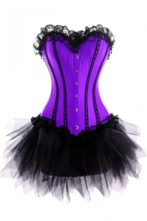 Purple Corset Dress With Black Vertical Strip Detail and Tutu Net Mini Skirt