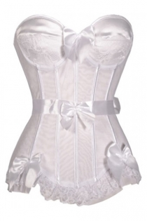 White Strapless Sateen Boned Corset With Bow Detailing and Ribbon Belt