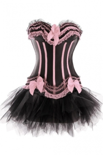 Black Sateen Strapless Corset Dress With Sugar Pink Detailing and Tutu Net Mini Skirt
