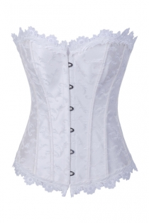 White Brocade Corset With Structured Paneling, Black Metal Clasps and White Lace Neck