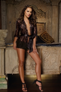 Black Sheer Lace Robe With Three-quarter Length Sleeves, and Black Satin Ribbon Tie Closure in Front