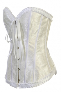 White Satin Floral Brocade Structured Corset Wih Metal Busl Front Closure and Satin Ribbons Back Lace Up