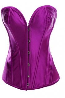 Intimate Victorian Purple Satin Corset With Steel Bones, Sweetheart Neckline, Front Busk