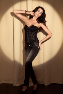 Black Strapless Corset With Floral Inset Pattern and Lace Through Frontage