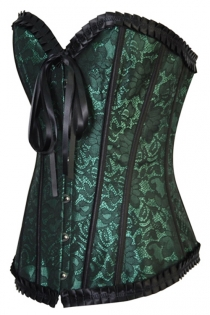 Green Satin Floral Brocade Structured Corset Wih Metal Busl Front Closure and Satin Ribbons Back Lace Up