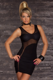 Black Sleeveless Mini Club Dress With Sheer Black Panels and Ruched Bottom