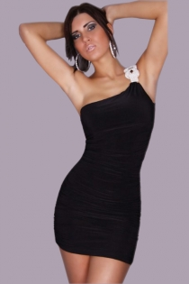 Black One-shoulder Mini Club Dress With Ruching and Silver Shoulder Accent