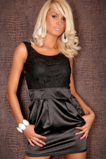 Black Sleeveless Mini Club Dress With Textured Bodice and Black Satin Skirt With Pockets