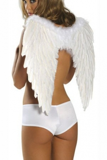 Soft Spotless White Captivating Feather-Like Dainty Angel Wings With Soft Cottony Top Edge Without Matching White Panty