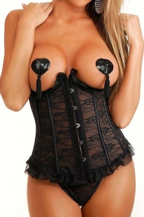 Playful Black Temptress Smooth Sheer Floral Tight Fit Cupless Ruffled Edges Bodice Waist Training Corset