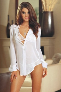 Sheer White Blouse-style Robe With Long Sleeves, Plunge Neckline, Button Accent, and Notched Collar