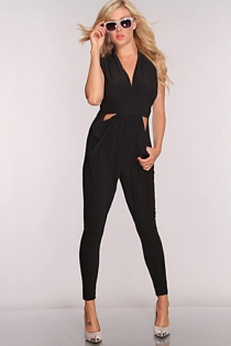 Solid Black Sleeveless Romper With Capri Length Pants and Cut-out Waist Accents