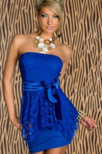 Gorgeous Royal Blue Silky Partly Overlaid By Floral Sheer Fabric With Shiny Smooth Ribbony Side Belt