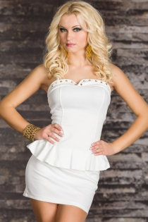 Classy White Top and Skirt With Gorgeou Pleats and Gold Button Cup Accents