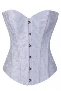 White Brocade Strapless Corset With Structured Paneling and Black Metal Clasps