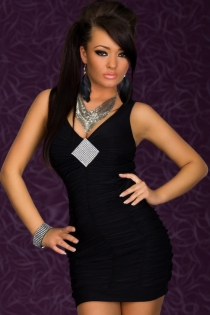 Solid Black Sleeveless Mini Club Dress With Ruched Design and Silver Sequin Diamond Bustline Accent